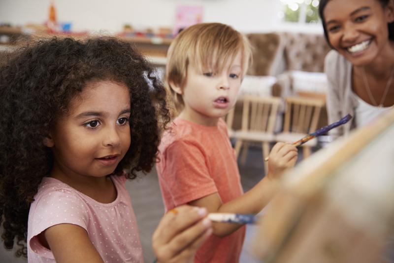 Children and teacher in a classroom
