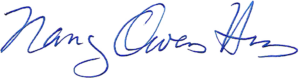 Nancy Owens Hess signature